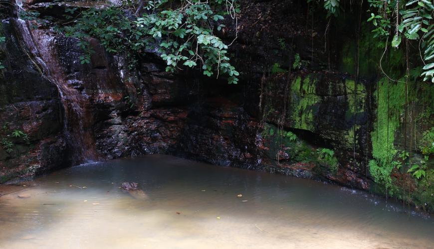 Cachoeira dos Picos em São Pedro Piauí tem água saindo de raízes